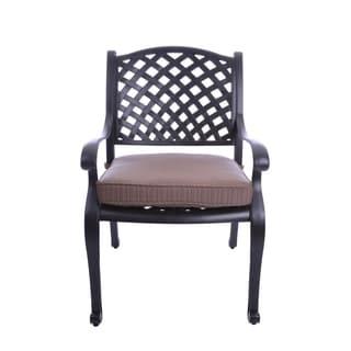 GatherCraft Casa Grande Bronze Outdoor Cast Aluminum Cushioned Dining Armchair