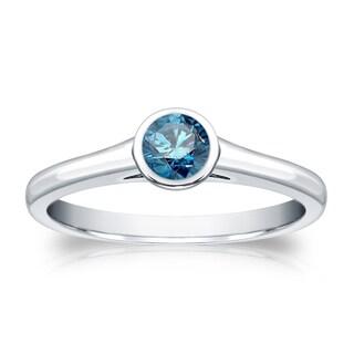 Auriya 14k 1/3ct TDW Round Blue Diamond Solitaire Bezel Ring (Blue, I1-I2)