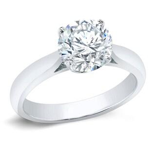 Auriya 14k Gold 3ct TDW Clarity-Enhanced Round Diamond Solitaire Ring (G-H, I1-I2)