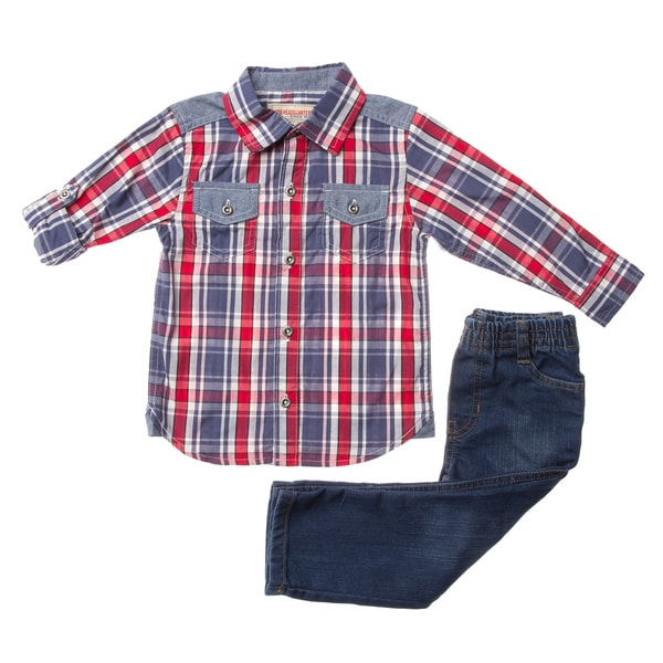 Boys' Red Plaid Woven 2-piece Top/ Denim Pant Set
