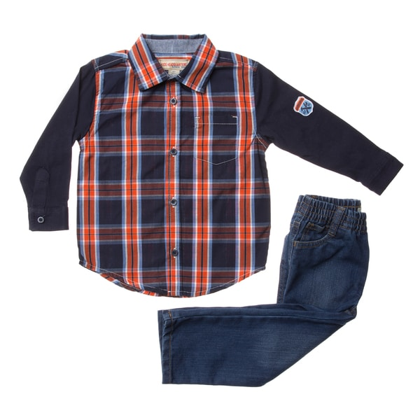 Toddler Boys' Blue Plaid 2-piece Woven Top/Denim Pant Set