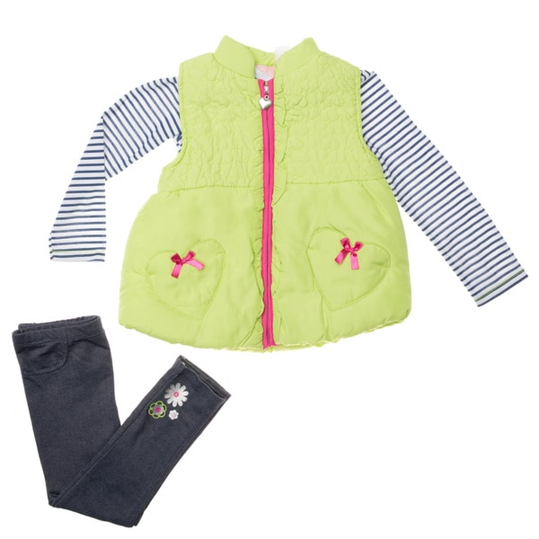 Infant Girl's 3-piece Vest Pant Set