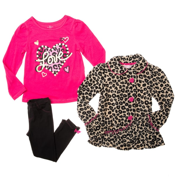 Kids Headquarters Girls' 3-piece Leopard Print Vest Pant Set