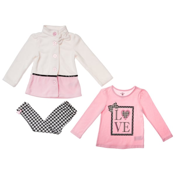 Kids Headquarters Girls' 4-6x Black/ Pink LOVE 3-piece Jacket Pant Set