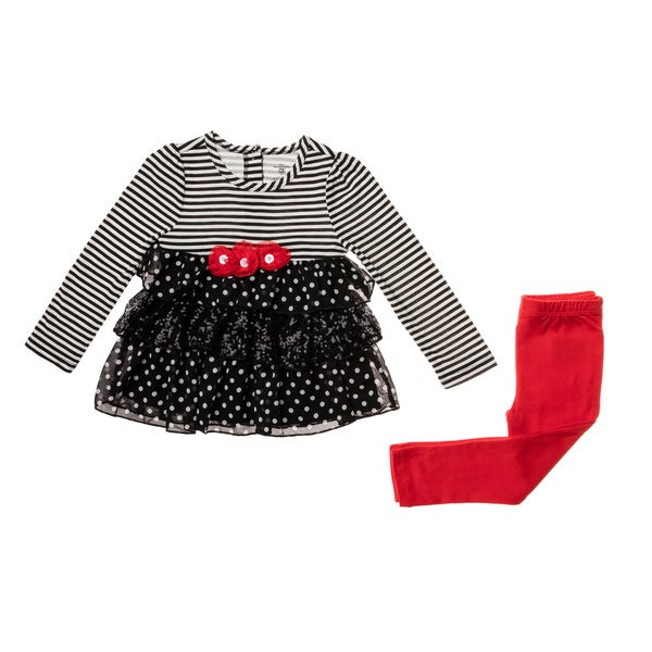 Kids Headquarters Infant Girls' Red/ Black Stripe 2-piece Legging Set