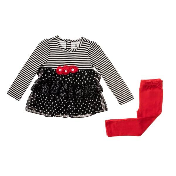 Kids Headquarters Girls' 4-6x Black/ White Stripe 2-piece Legging Set