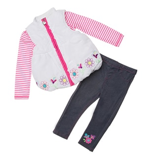 Kids Headquarters Toddler Girls' 3-piece Vest Pant Set
