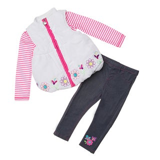Kids Headquarters Girl's 3-piece Puffy Vest and Pants Set