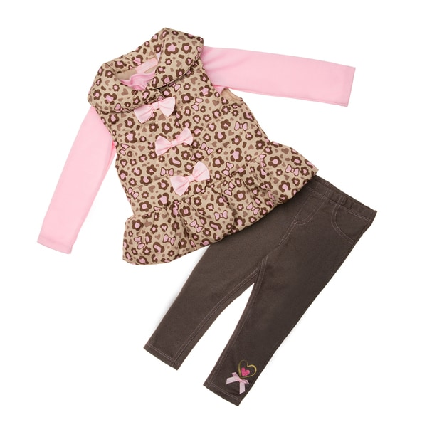 Kids Headquarters Toddler Girls' 3-piece Pink/ Leopard Vest and Pant Set