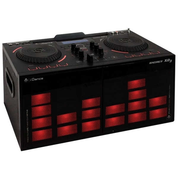 BriteLite iDance 200W BT DJ Console with LED Lights and Crossfader - Black (XD3BK)