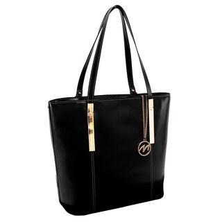 McKlein USA Black Christina Top Grain Leather Tablet Tote Bag