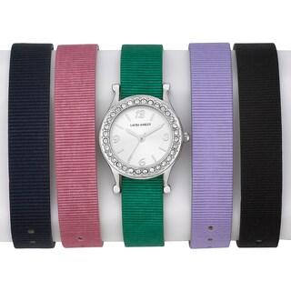 Laura Ashley Ladies 5 Strap Grograin Interchangable Watch Set