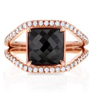 Annello 14k Rose Gold 4ct TDW Square Black and White Diamond Symmetry Ring (G-H, I1-I2)