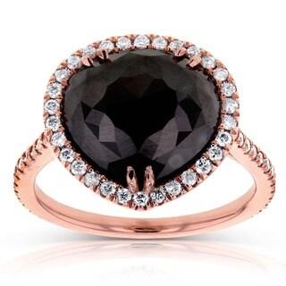 Annello 14k Rose Gold 6ct TDW Pear Shape Black and White Diamond Ring (G-H, I1-I2)