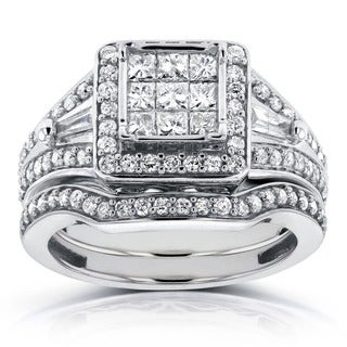 Annello 14k White Gold 1ct TDW Princess and Baguette Illusion Composite Diamond Bridal Set (H-I, I1-I2)