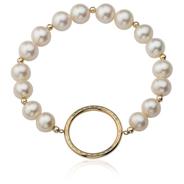PearlAura Vanguard 14k Yellow Gold Freshwater Pearl Circle Pendant Stretch Bracelet (9-10mm)