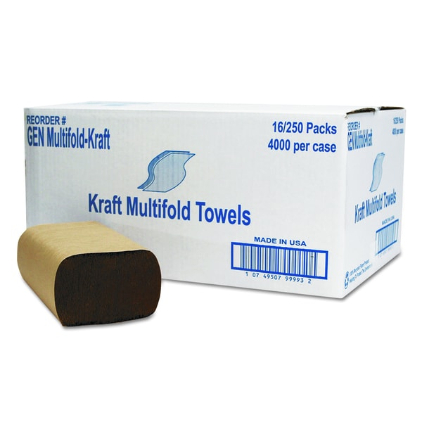 General Supply Brown Multifold Towel (16 Packs of 250 Towesl)