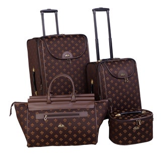 American Flyer Fleur De Lis 4-piece Expandable Rolling Luggage Set