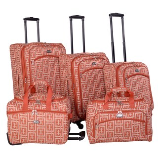American Flyer Brick Wall Orange 5-piece Expandable Spinner Luggage Set