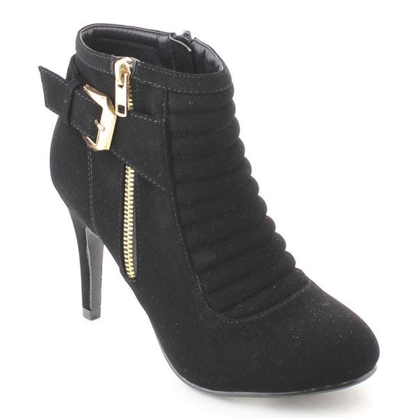 Bonnibel Buckle-1 Women's Side Zipper Buckle Strap Stiletto Heel Dress Ankle Boot