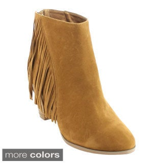 Bonnibel Dean-2 Women's Stacked Heel Back Zipper Fringe Ankle Booties