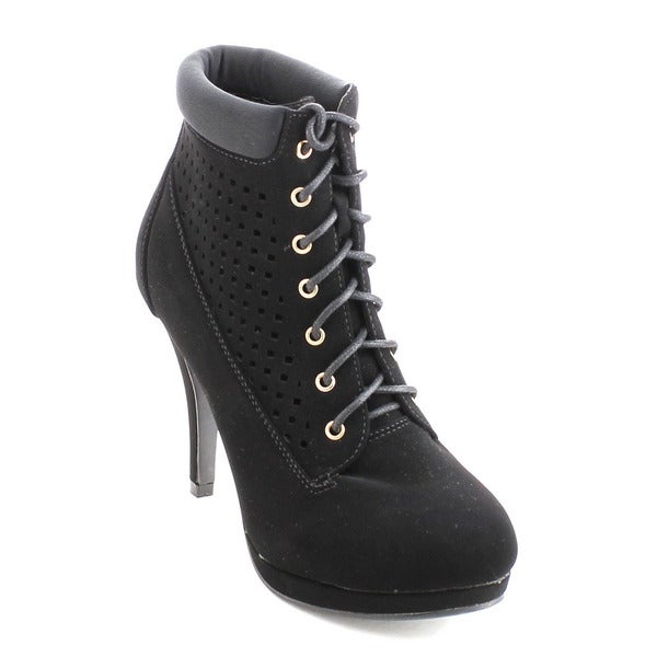 Bonnibel Matty-4 Women's Cut Out Lace Up Padded Cuff Dress Ankle Booties