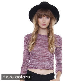 Juniors' Melange Long Sleeve Crop Top