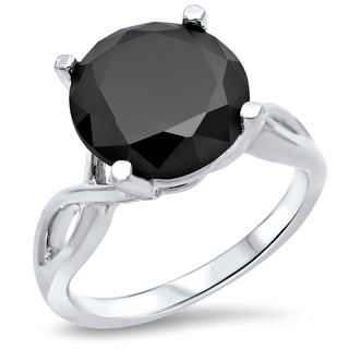 Noori 14k White Gold 3 3/4ct TDW Certified Black Diamond Ring