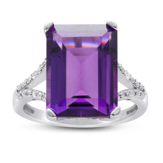 10ct Emerald Shape Amethyst and Diamond Ring In Sterling Silver