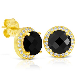 4 Carat Black Onyx and Created Diamond Halo Stud Earrings In 14 Karat Gold Over Silver