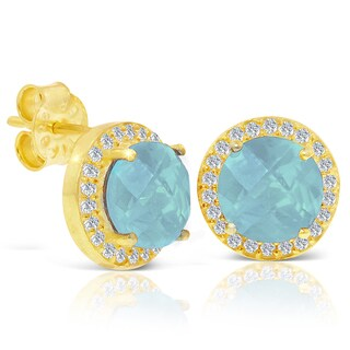 4 Carat Blue Chalcedony and Created Diamond Halo Stud Earrings In 14 Karat Gold Over Silver