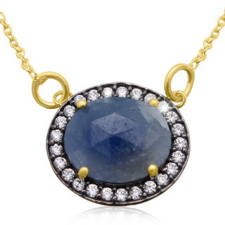 13 Carat Natural Blue Sapphire And Created Diamond Necklace In 18 Karat Gold Over Silver