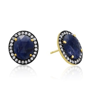 20 Carat Natural Blue Sapphire And CZ Earrings In 18 Karat Gold Over Silver