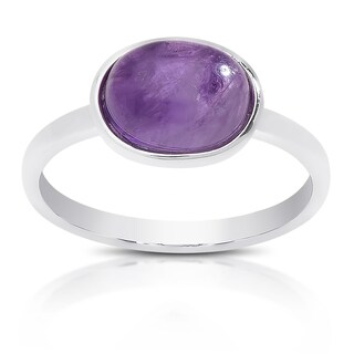 Dolce Giavonna Sterling Silver Oval Gemstone Solitaire Ring