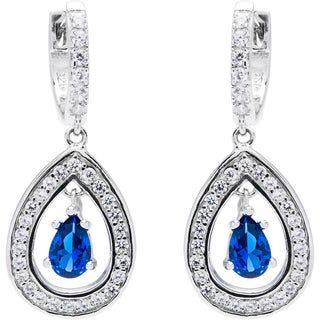 Sterling Silver Created Sapphire and Ruby Drop Earrings