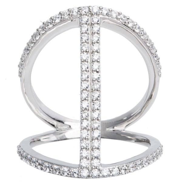 Sterling Silver Pave Cubic Zirconia Open Work Cage Style Ring