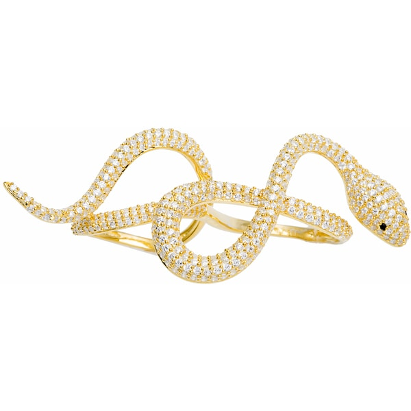 Sterling Silver Double Ring Pave Swirl Snake Ring (Size 7)