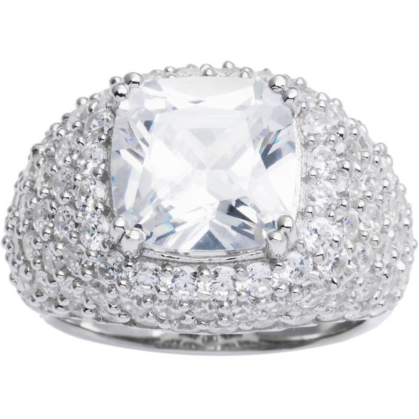 Sterling Silver Cushion Pave Cubic Zirconia Center Cocktail Ring