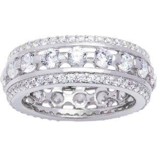 Sterling Silver Round Brilliant Cubic Zirconia Tension-set Eterntiy Ring