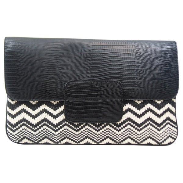 BCBGeneration Leyla Lizard and Straw Clutch - Black