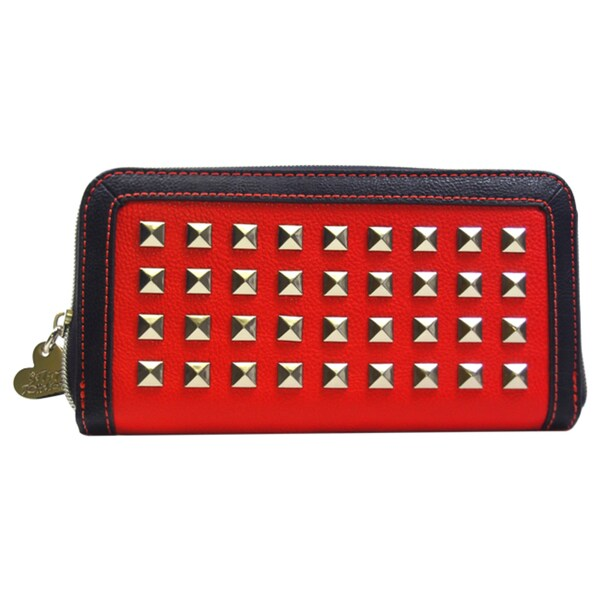 Betsey Johnson Spring Studding Zip Around Wallet - Red