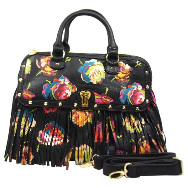 Betsey Johnson Fringy Floral Dome Satchel - Black