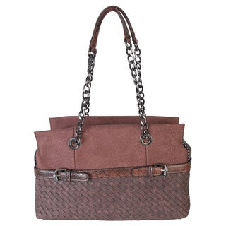 Rimen and Co. Double Buckle Snake Belt Metal Chain Basket Weave Tote Handbag