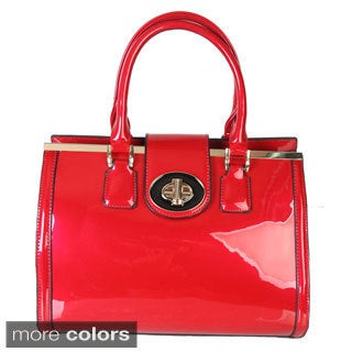 Rimen and Co. Faux Patent Leather Turn Lock Closure Satchel