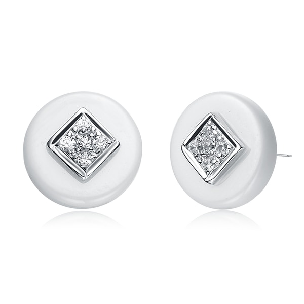 Sterling Silver White Ceramic Round Stud Earrings