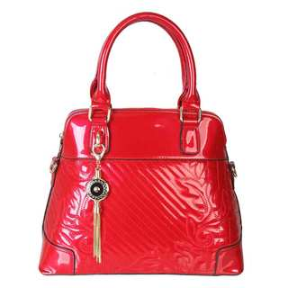 Rimen and Co. Shiny Patent Leather Floral Pattern Tassel Ornament Satchel Handbag