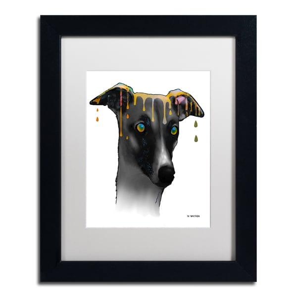 Marlene Watson 'Greyhound' White Matte, Black Framed Wall Art