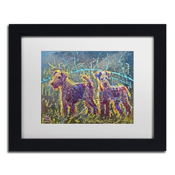 Lowell S.V. Devin '21st Century Fox Terriers' White Matte, Black Framed Wall Art