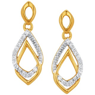 10k Yellow Gold 1/10ct TDW Diamond Tear-drop Earrings (H-I, I1-I2)