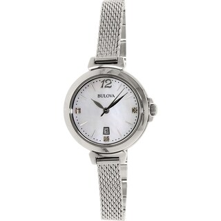 Bulova Women's Diamond 96P150 Silver Stainless-Steel Quartz Watch